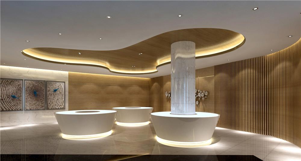 搭配上深色系的吧台背景墙,为整个售楼处增加了一丝丝深沉优雅的气息